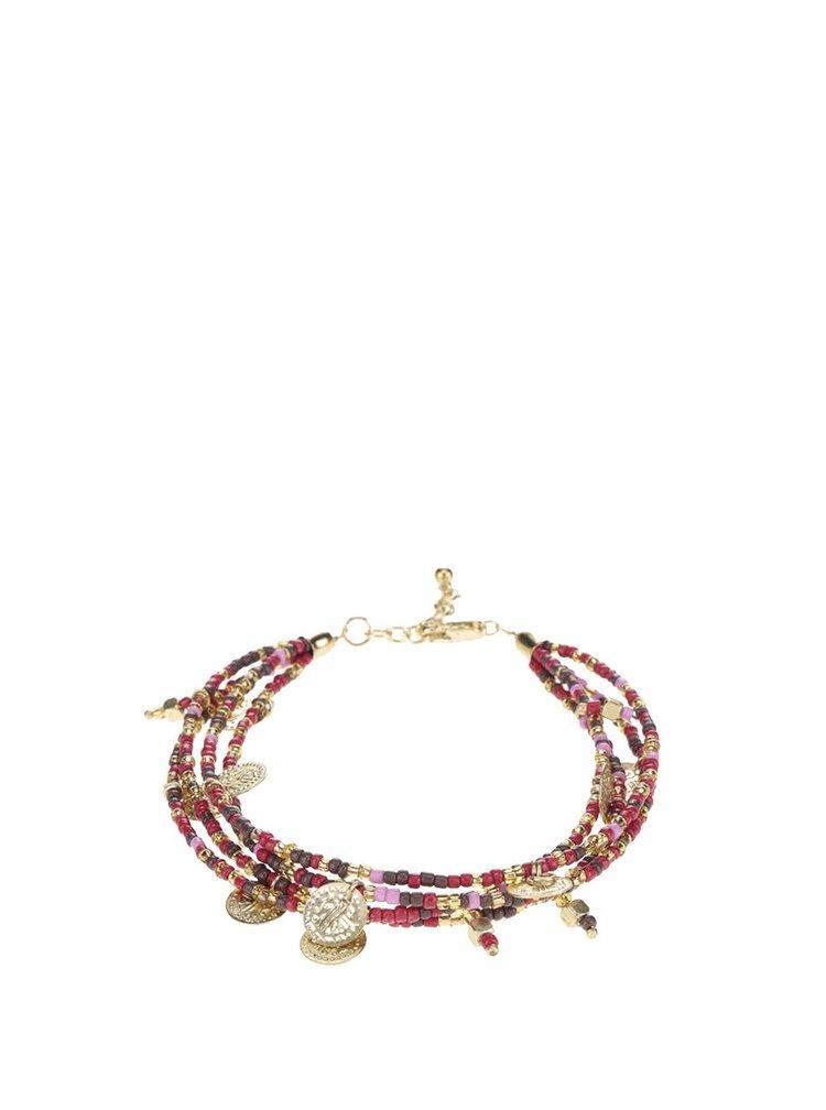 Kotníkový náramek s červenými korálky Pieces Lina