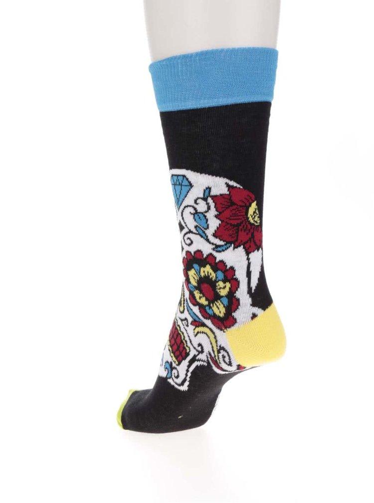 Sada tří pánských ponožek v černé barvě s barevnými lebkami Oddsocks Wesley