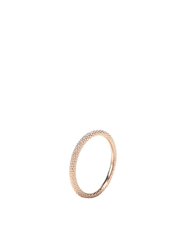 Pozlacený jemně vzorovaný prstýnek v růžovozlaté barvě Pieces Jael