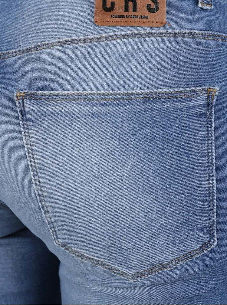 Modré dámské skinny džíny s vyšisovaným efektem a zipy Cars Koblenka