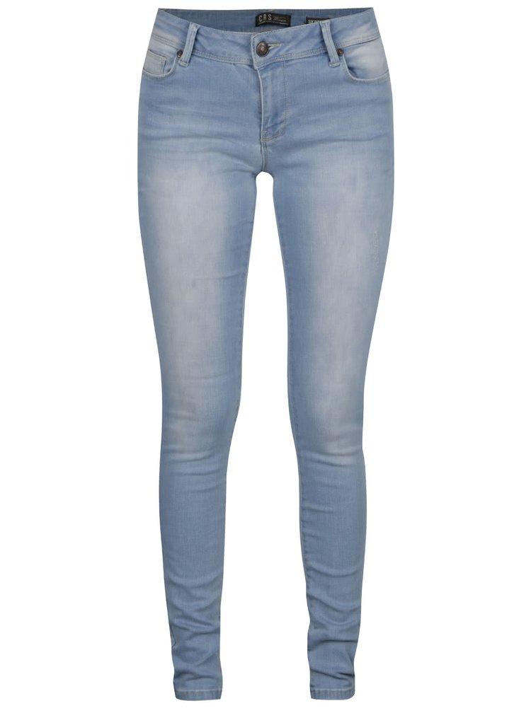 Světle modré dámské skinny džíny s vyšisovaným efektem Cars Victoria