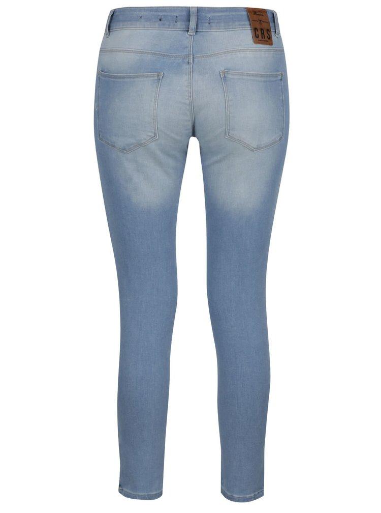 Světle modré dámské skinny džíny s vyšisovaným efektem a zipy Cars Koblenka