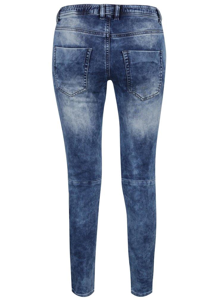 Modré dámské skinny džíny s vyšisovaným efektem Cars Joggy