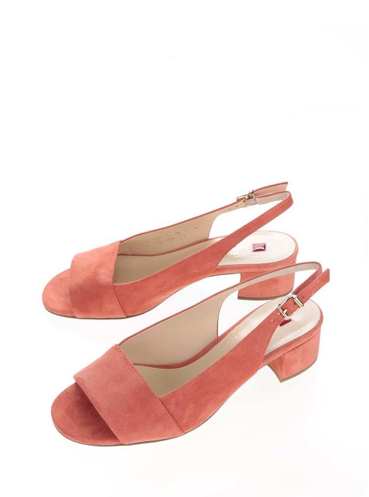 Korálové semišové sandálky na podpatku Högl