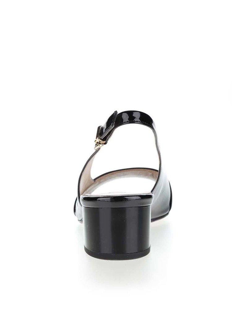 Sandale negre din piele lăcuită Högl  cu toc masiv