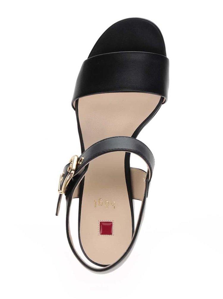 Sandale negre din piele Högl cu toc și baretă pe gleză