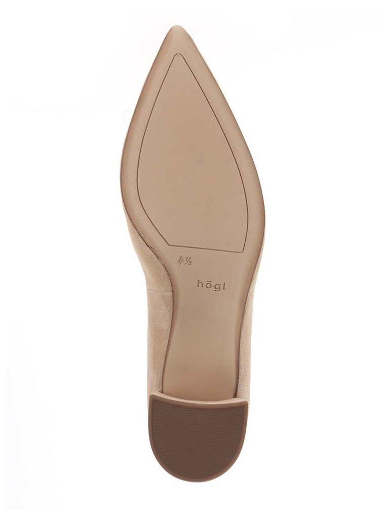 Pantofi bej din piele intoarsa Högl cu toc mic