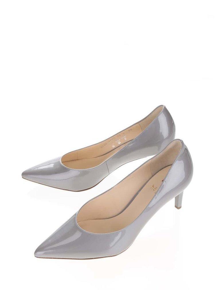 Pantofi gri din piele lăcuită Högl  cu toc cui