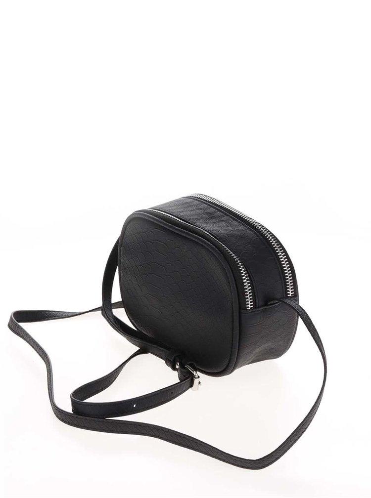 Černá crossbody kabelka s jemným vzorem Pieces Larissa