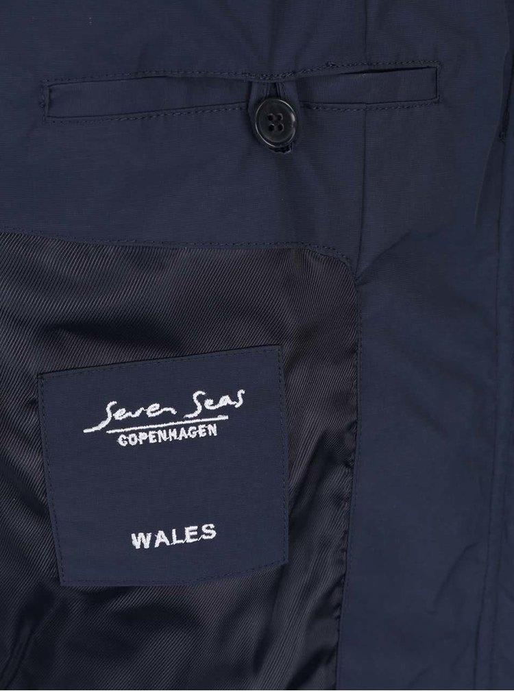 Jacheta bleumarin Seven Seas Wales cu guler inalt