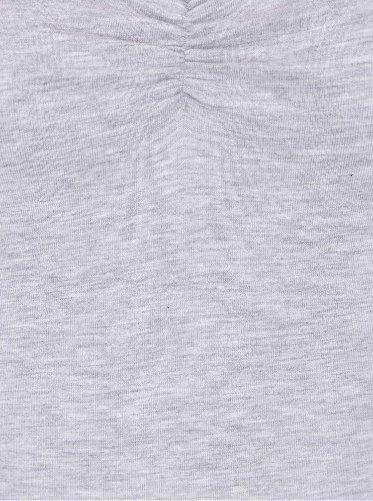 Světle šedé tričko s řasením v dekoltu TALLY WEiJL