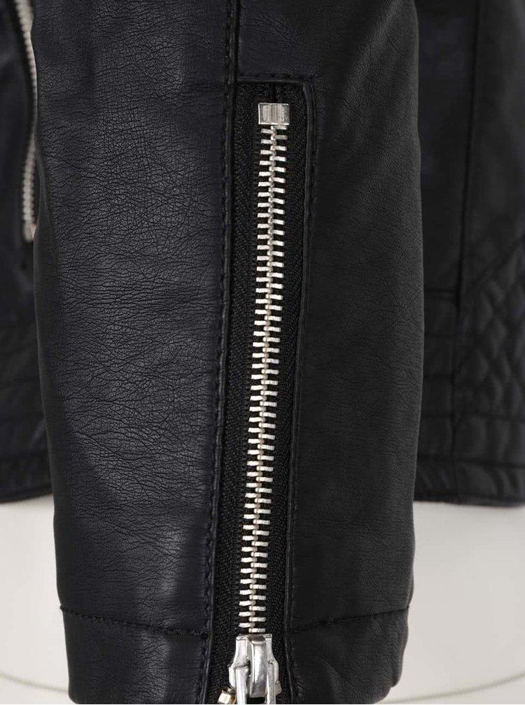 Černá koženková bunda se zipy na rukávech TALLY WEiJL