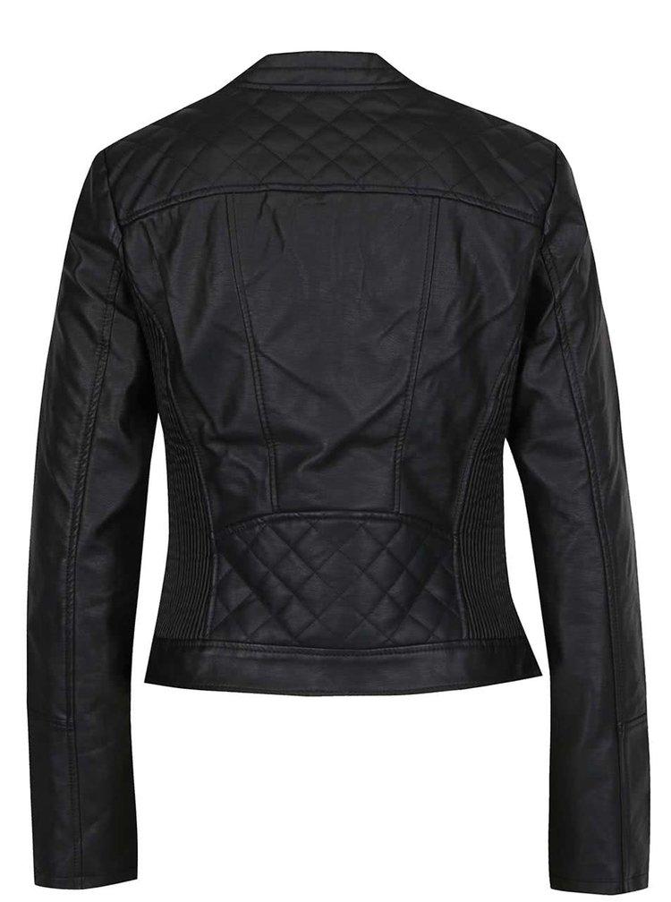 Černá koženková bunda se zipy ve zlaté barvě TALLY WEiJL