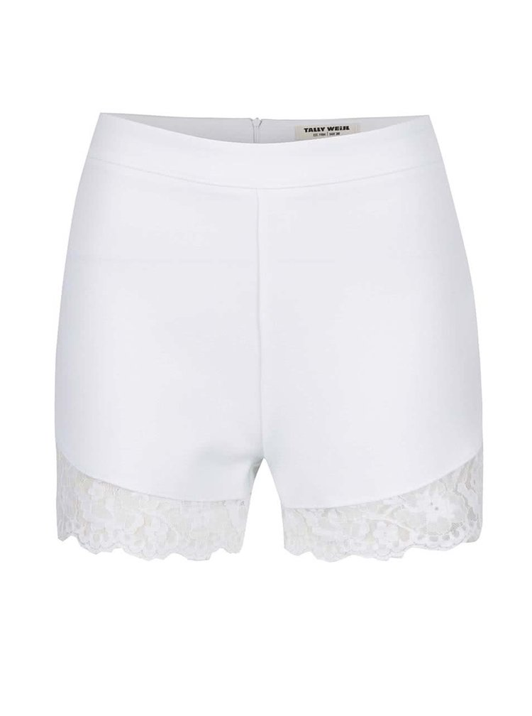 Pantaloni scurti albi cu dantela TALLY WEiJL