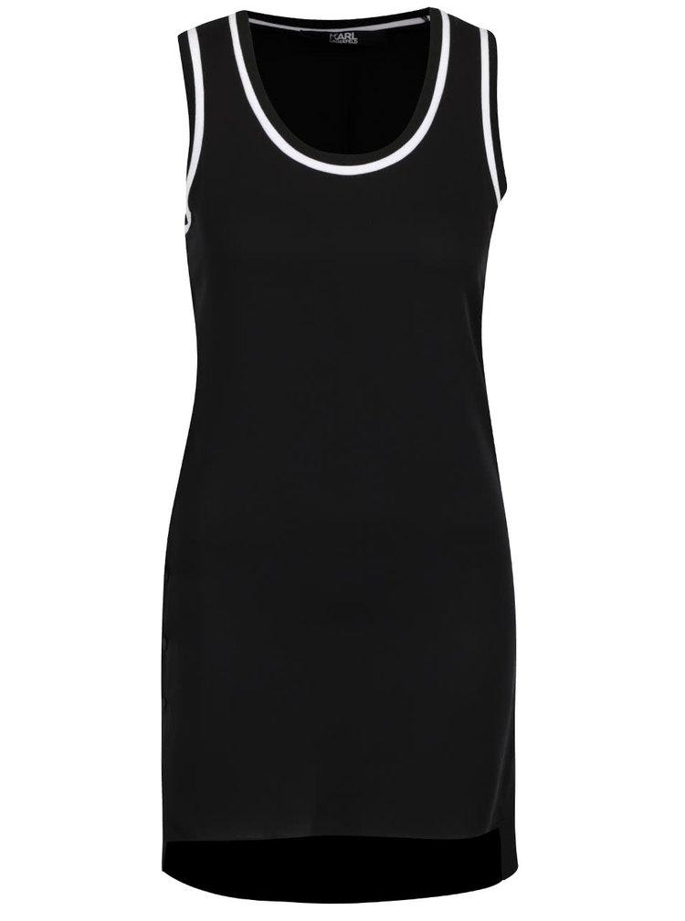 Čierny dlhý hodvábny top KARL LAGERFELD