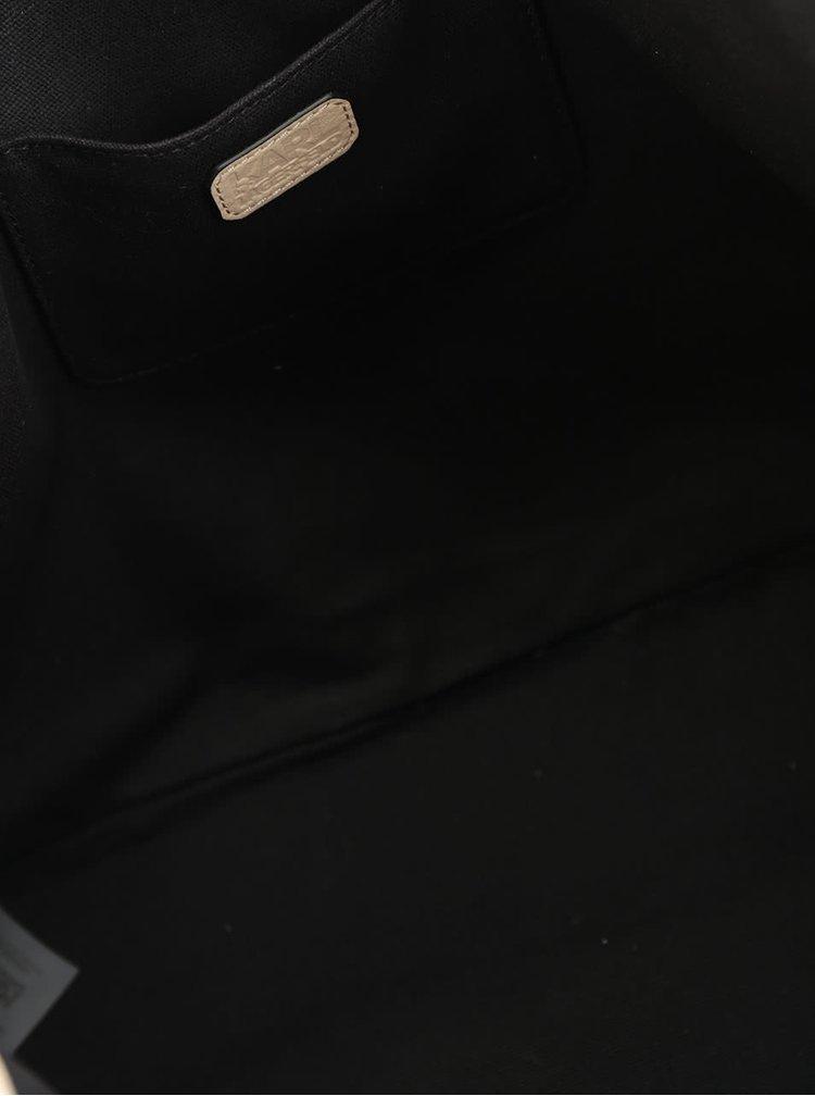 Béžový kožený shopper s detaily ve zlaté barvě KARL LAGERFELD