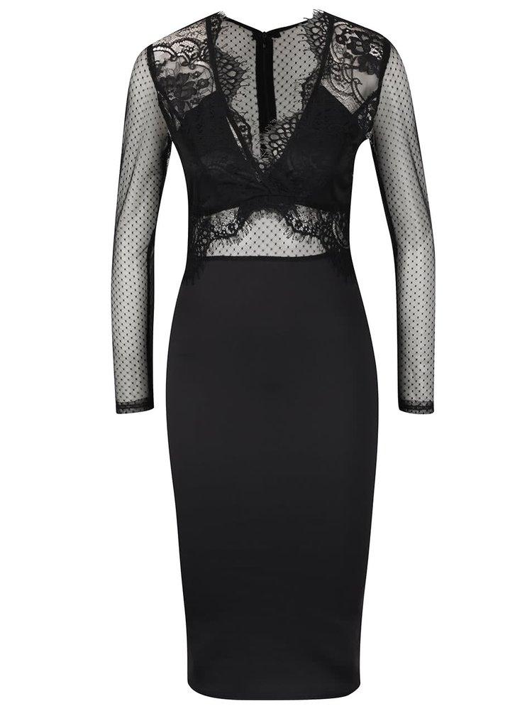 Rochie neagră AX Paris cu detalii din dantelă