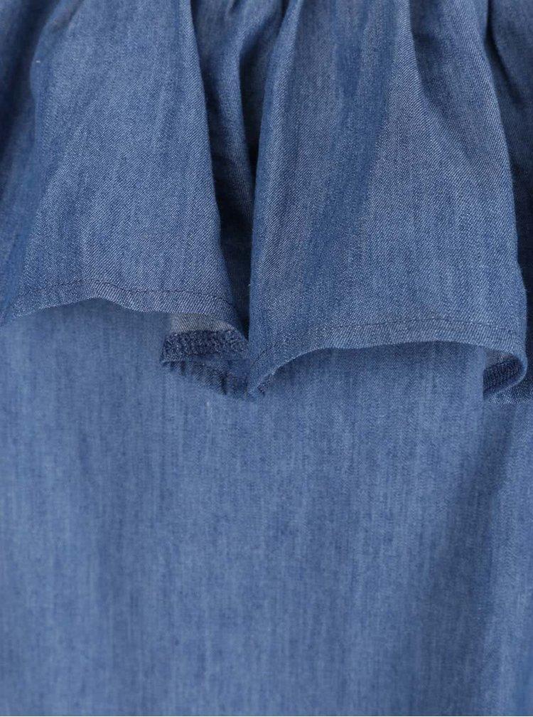 Modré šaty s odhalenými rameny a volánem AX Paris
