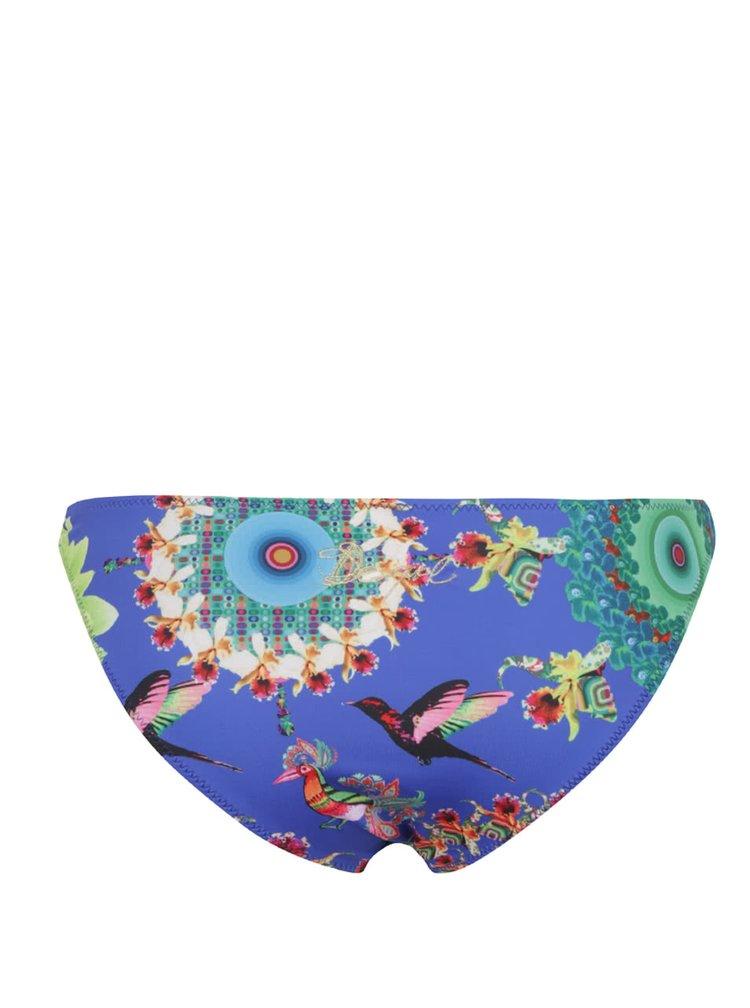 Tmavě modrý spodní díl plavek s barevnými ornamenty Desigual Top Gala