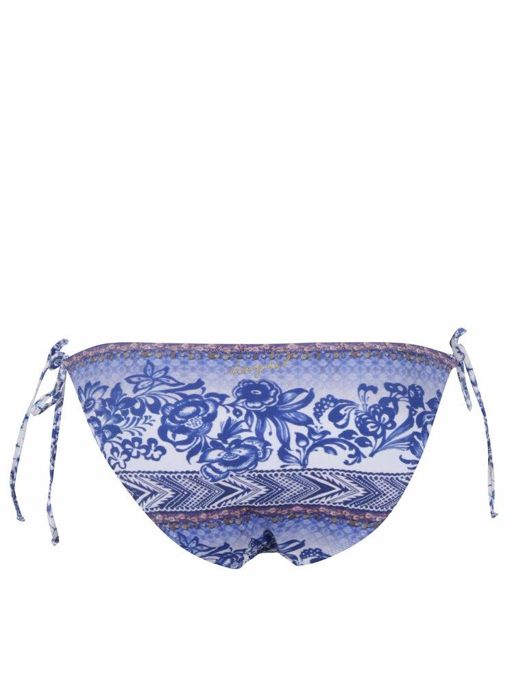 Modrý spodní díl plavek s květovaným vzorem Desigual Neusifu