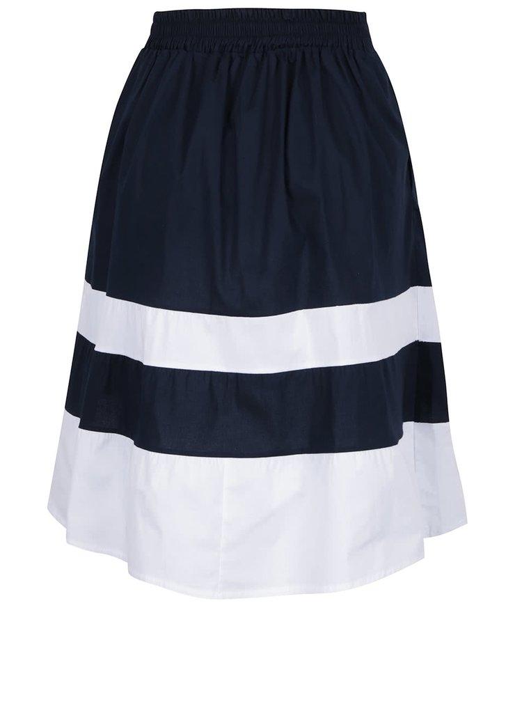 Fustă bleumarin midi ZOOT cu croi în cloș și dungi late albe