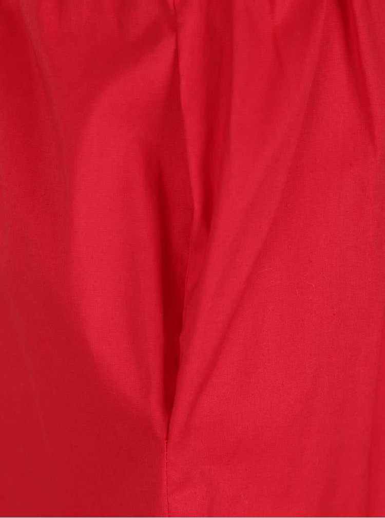 Fusta rosie midi ZOOT cu croi in clos si dungi late albe