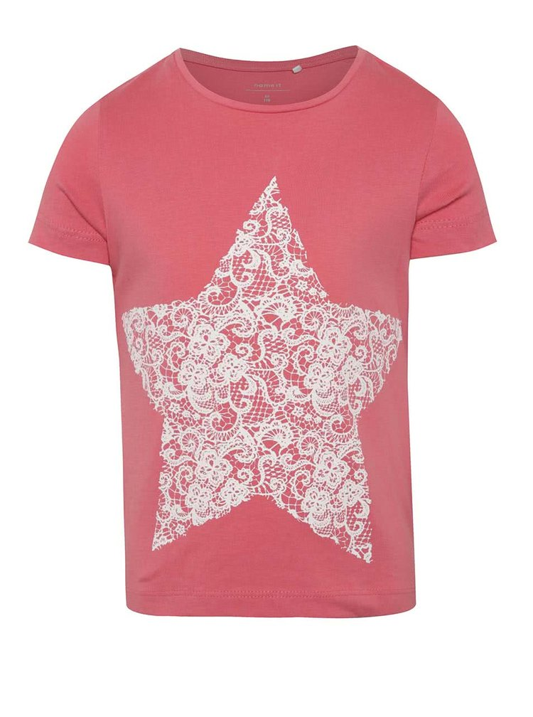 Růžové holčičí tričko s potiskem hvězdy name it Iben