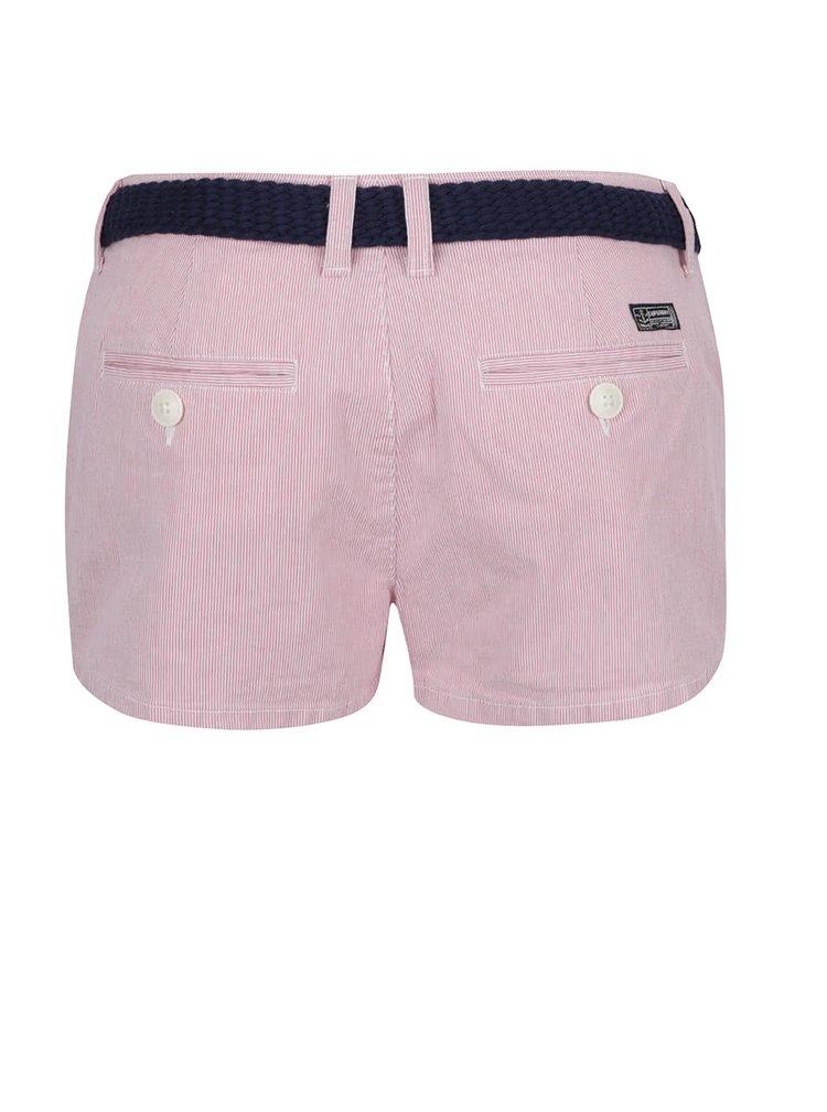 Pantaloni scurti rosii Superdry cu model discret in dungi si curea bleumarin