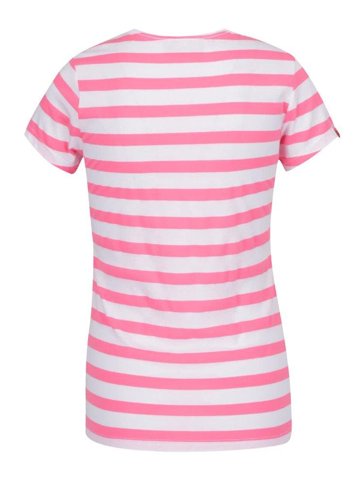 Tricou roz & alb Superdry din bumbac cu print și model în dungi