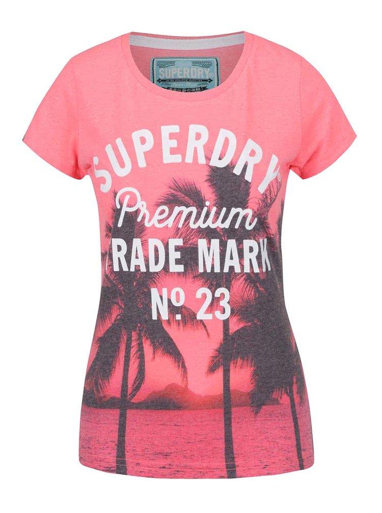 Růžové dámské tričko tropickým potiskem Superdry