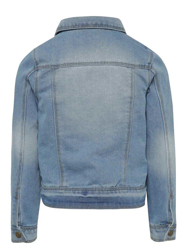 Jachetă albastru deschis din denim pentru fete Name It cu detalii din dantelă