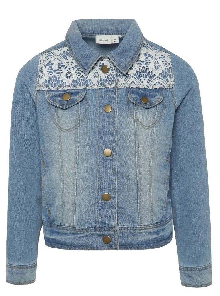 Světle modrá holčičí džínová bunda s krajkou name it Batira