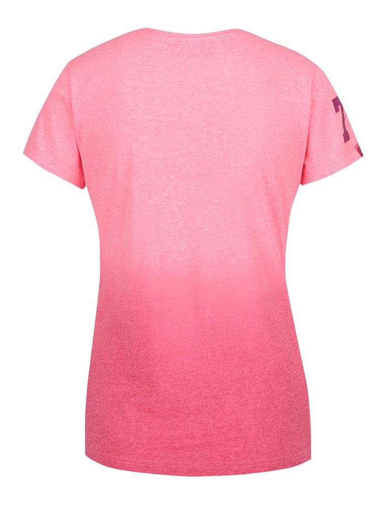 Tricou roz melanj Superdry cu print