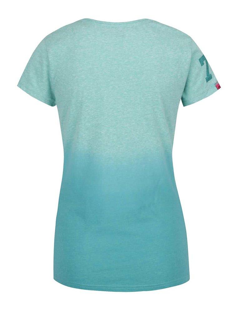 Tyrkysové dámské žíhané tričko s potiskem Superdry