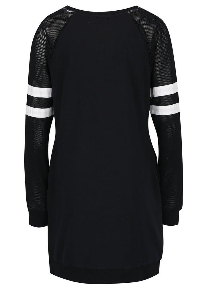 Rochie neagra Superdry cu print si maneci lungi