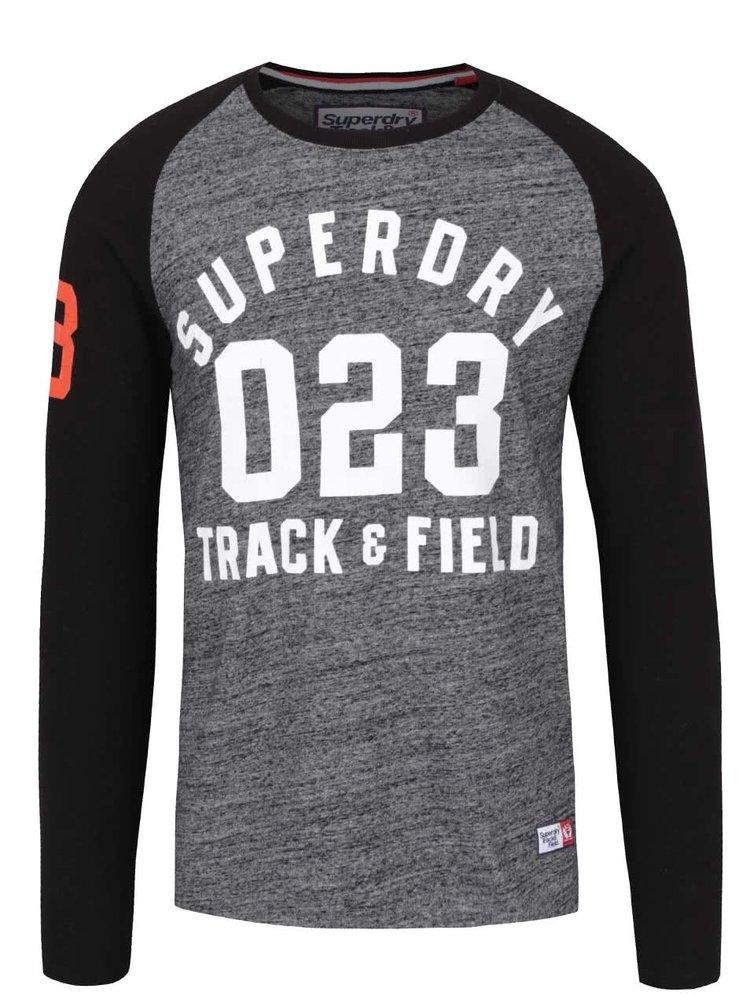 Šedé pánské triko s dlouhým rukávem Superdry