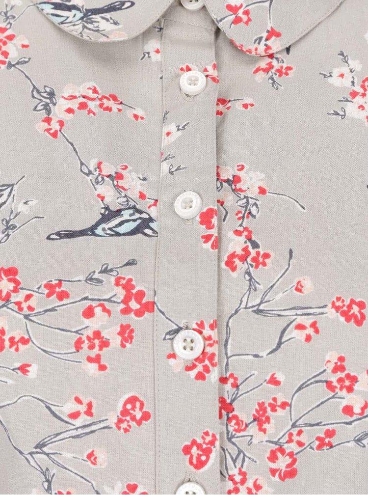 Rochie cămașă bej Brakeburn din bumbac cu model floral și mâneci medii
