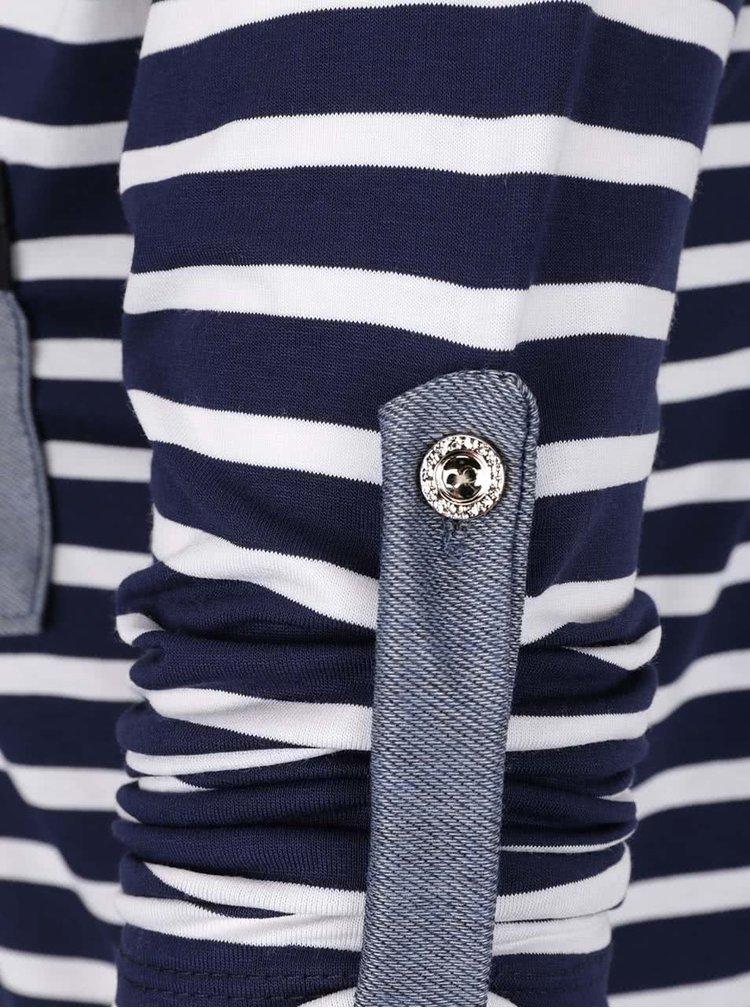 Bluza crem&bleumarin ZOOT cu model in dungi si maneci ajustabile