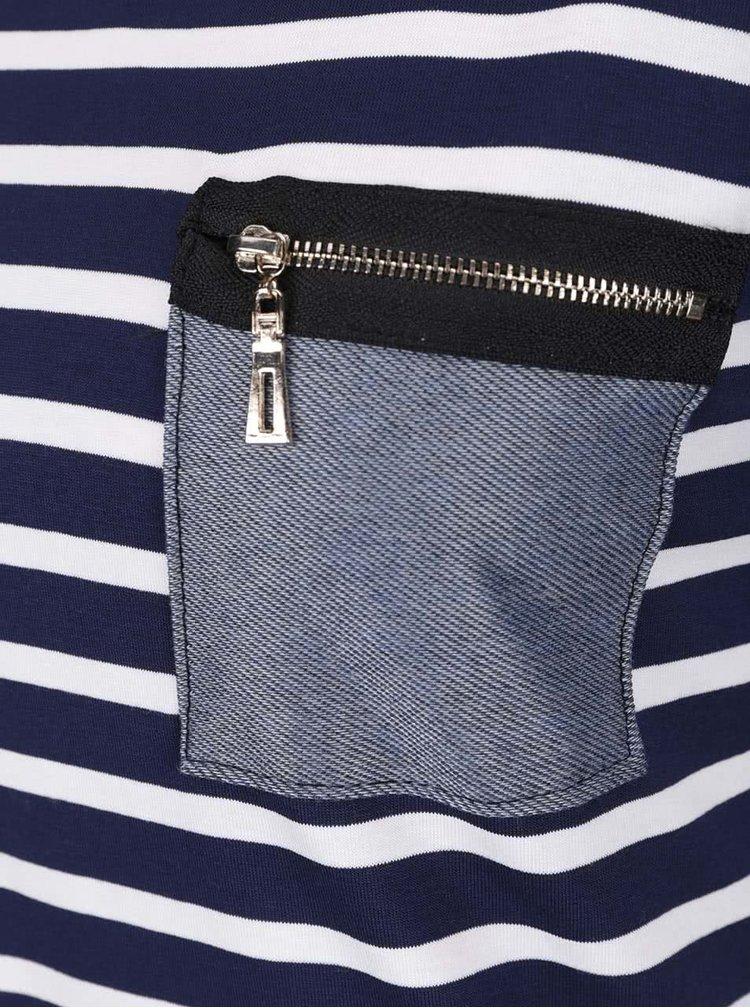 Krémovo-modré pruhované tričko s vreckom ZOOT