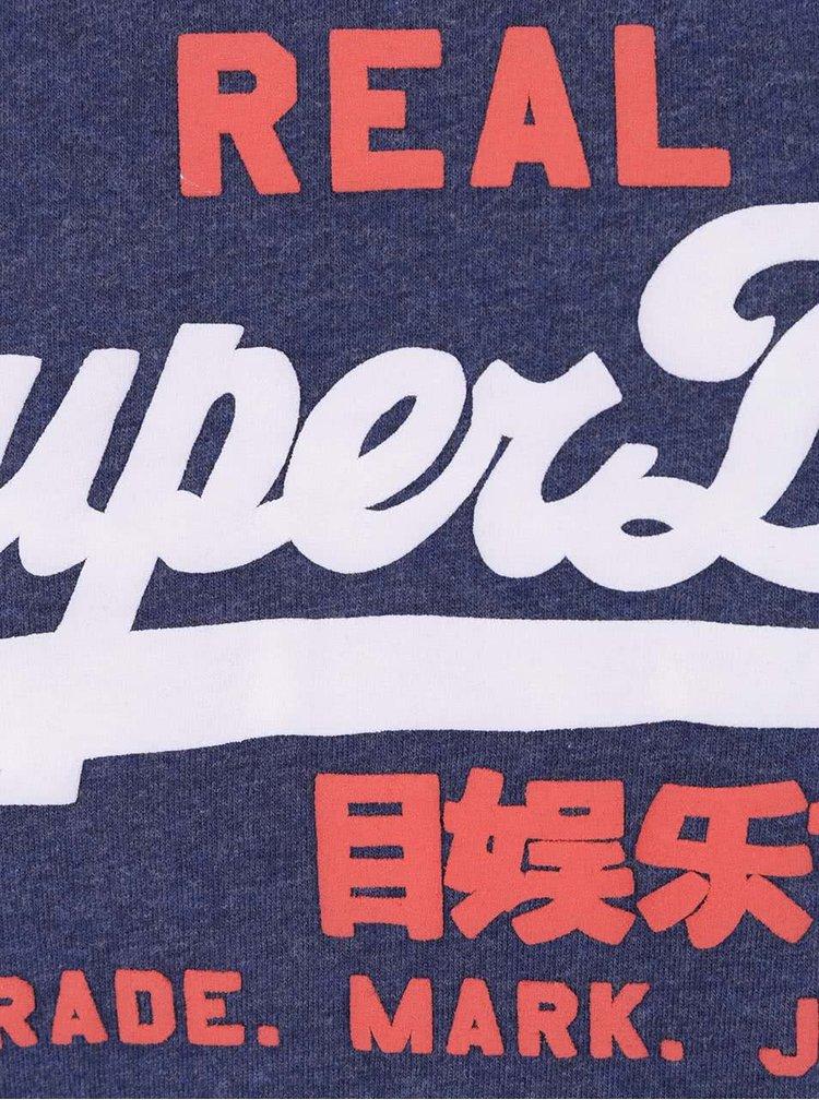Maiou albastru închis Superdry din bumbac cu print