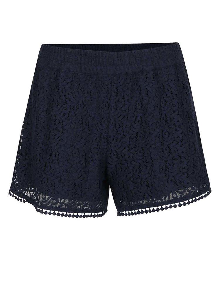Pantaloni scurti bleumarin VERO MODA Sasha cu aplicatie din dantela