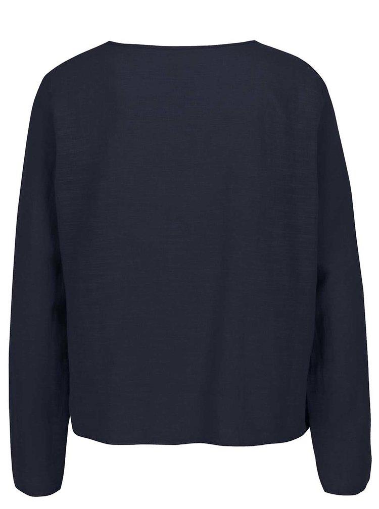 Tmavě modrý top se zavazováním v dekoltu Vero Moda Ina