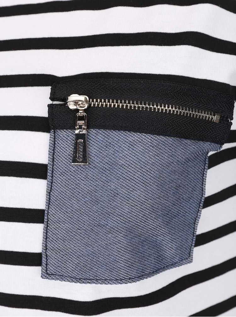 Černo-krémové pruhované tričko s kapsou ZOOT