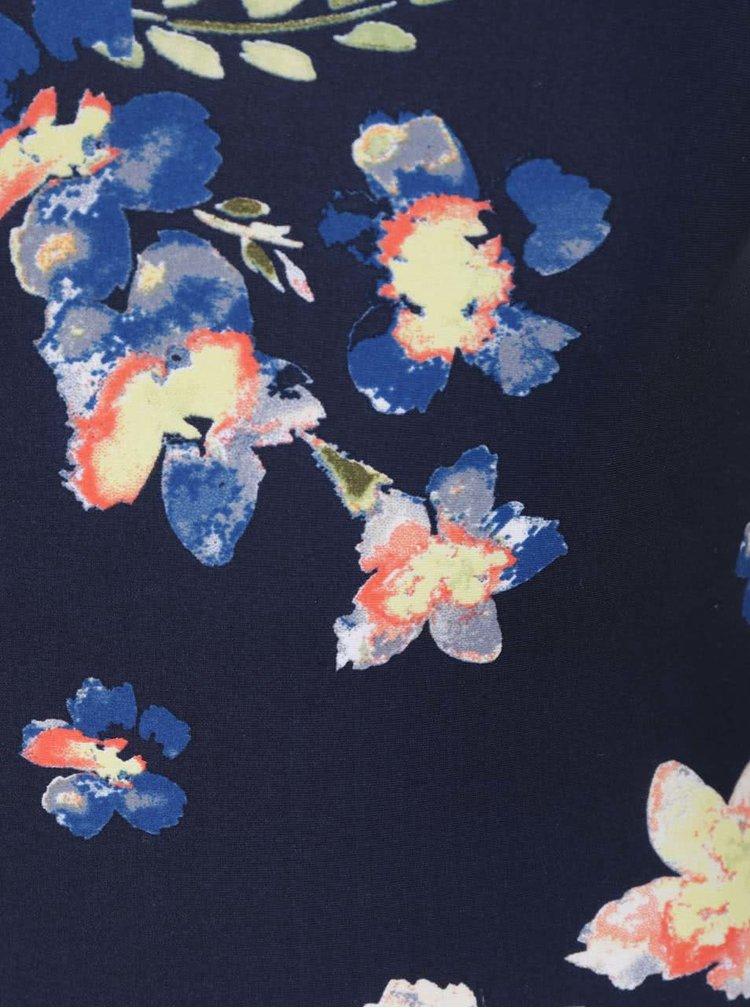 Tmavě modré jednodílné květované plavky VERO MODA Lina