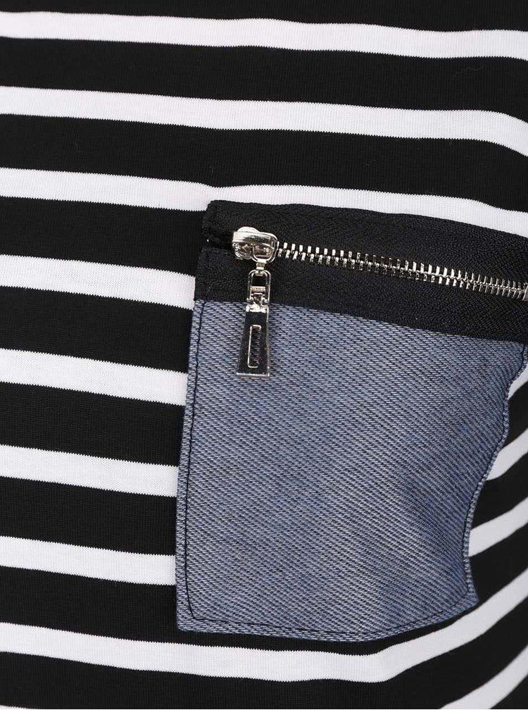 Krémovo-čierne pruhované tričko s vreckom ZOOT