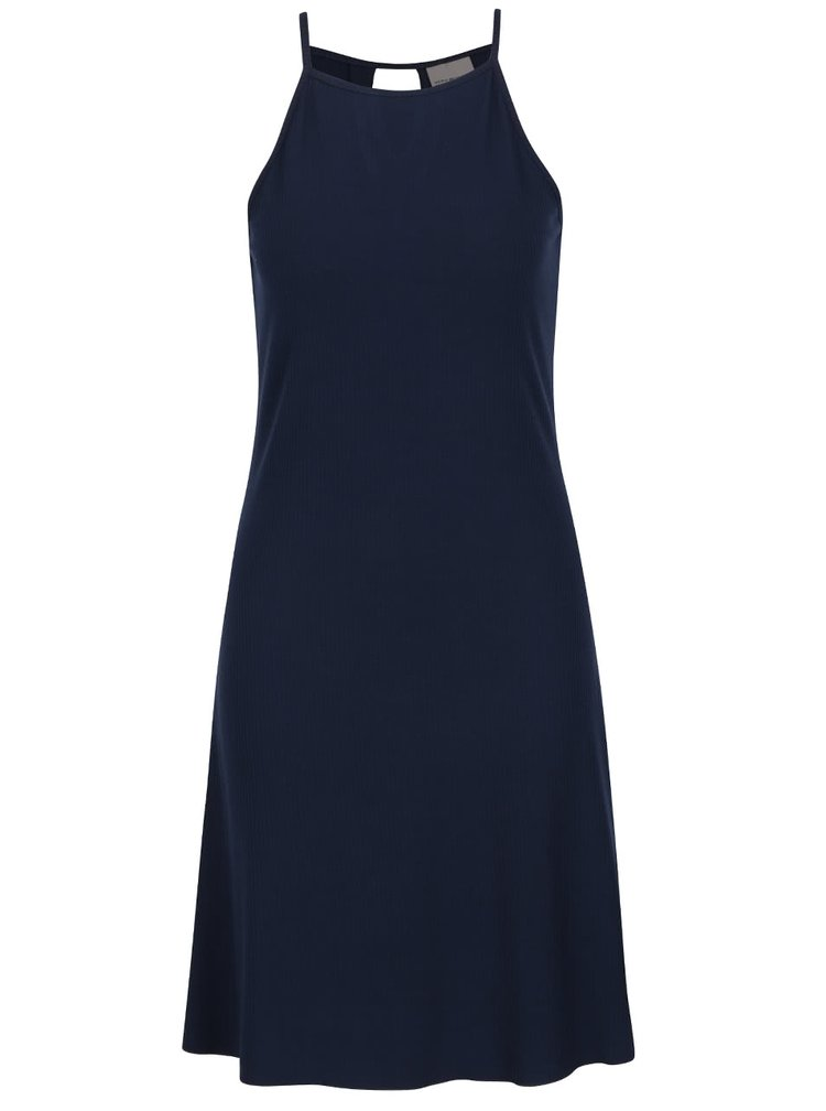 Tmavě modré žebrované šaty VERO MODA Addison