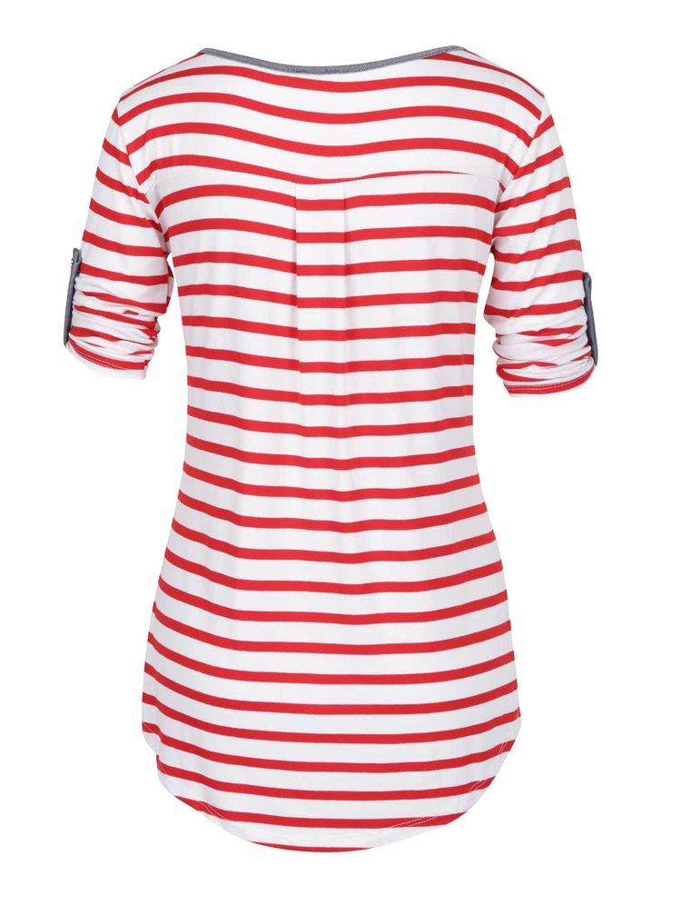 Bluză crem&roșu ZOOT cu model în dungi și mâneci ajustabile