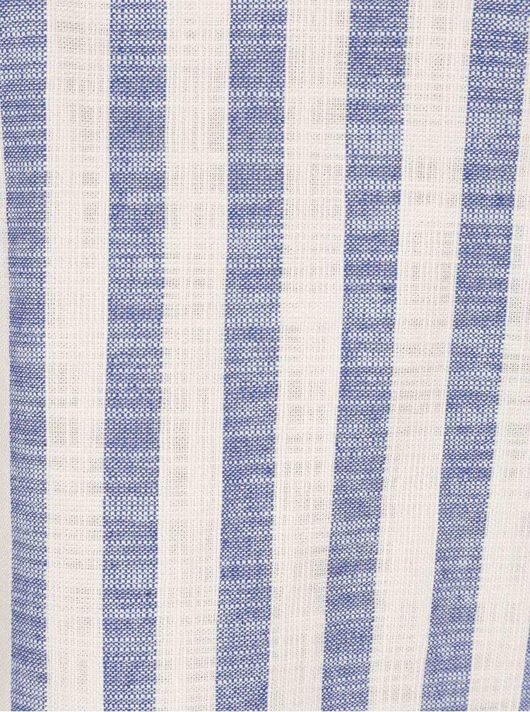 Béžovo-modrý oversize top s odhalenými rameny VERO MODA Laura