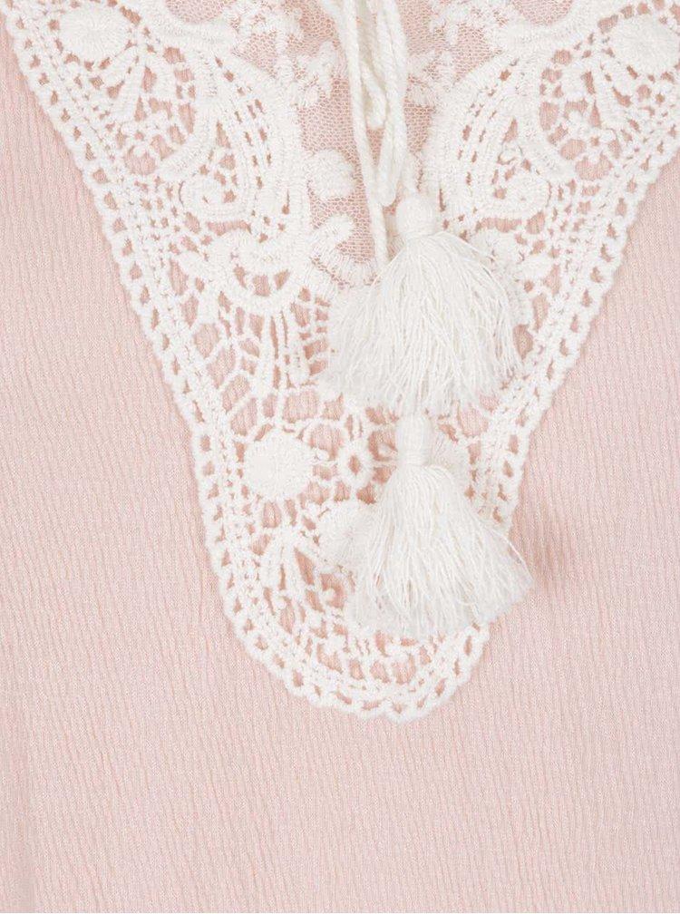 Tricou roz deschis Vero Moda Matea cu detaliu din dantelă și macrame