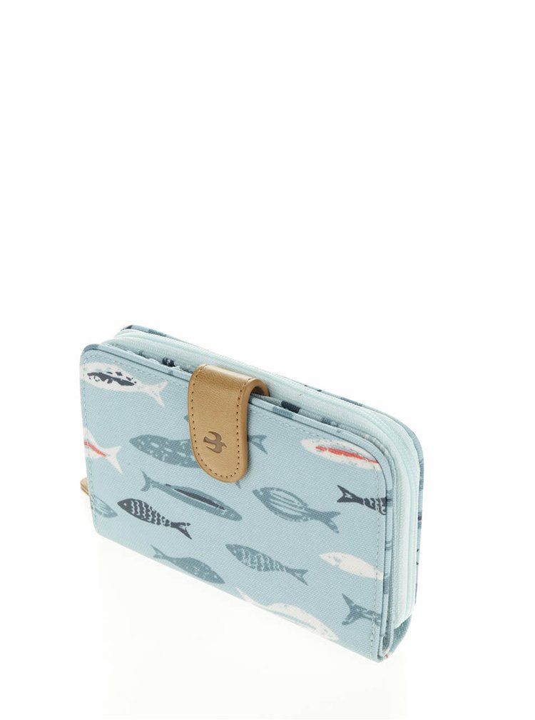 Světle modrá peněženka s motivem ryb Brakeburn